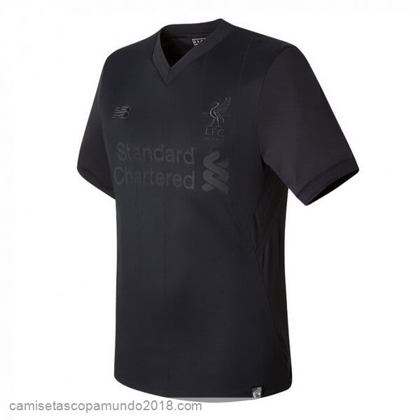 "Baratas Originales Todo ""PITCH BLACK"" Baratas Camiseta Liverpool 125th Negro"