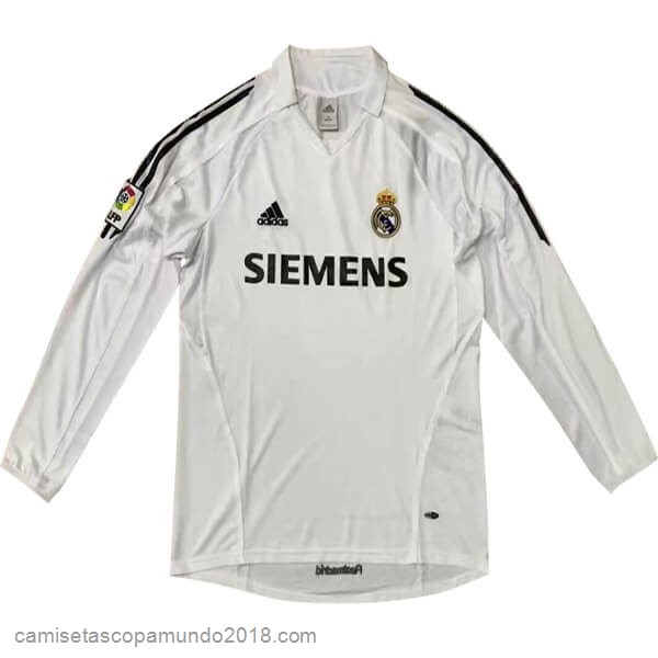 Baratas Originales Todo 1ª Manga Larga Real Madrid Retro 05 06 Blanco
