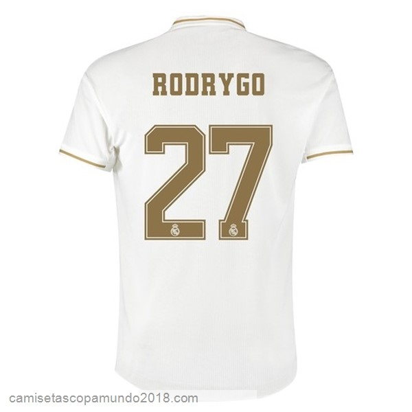 Baratas Originales Todo NO.27 Rodrygo 1ª Camiseta Real Madrid 19-20 Blanco