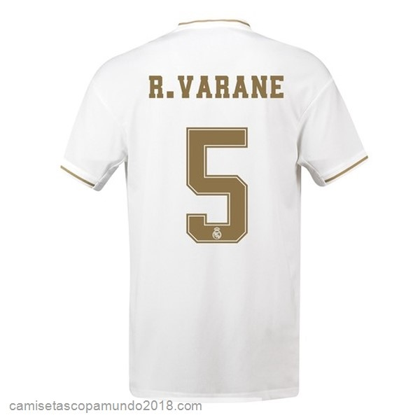 Baratas Originales Todo NO.5 Varane 1ª Camiseta Real Madrid 19-20 Blanco