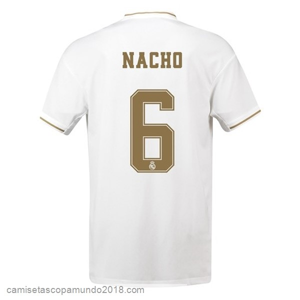 Baratas Originales Todo NO.6 Nacho 1ª Camiseta Real Madrid 19-20 Blanco